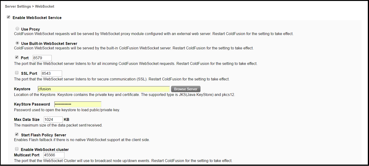Server Settings > WebSocket - ColdFusion Tuning Guide
