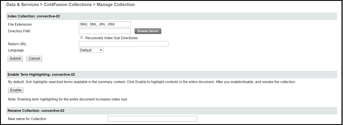 ColdFusion Administrator Collections