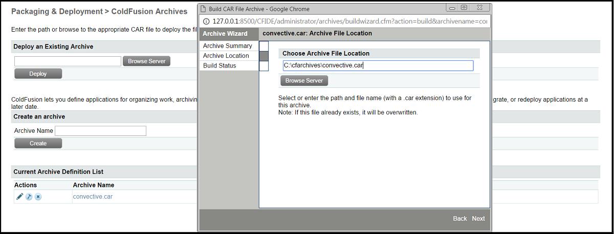 ColdFusion Archive Location