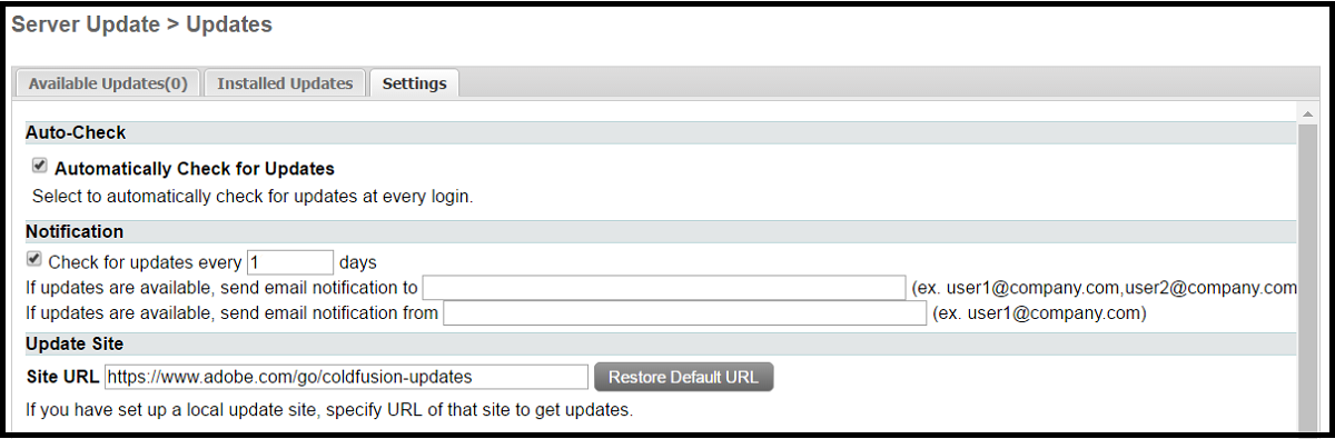 Server Update > Updates - ColdFusion Tuning Guide